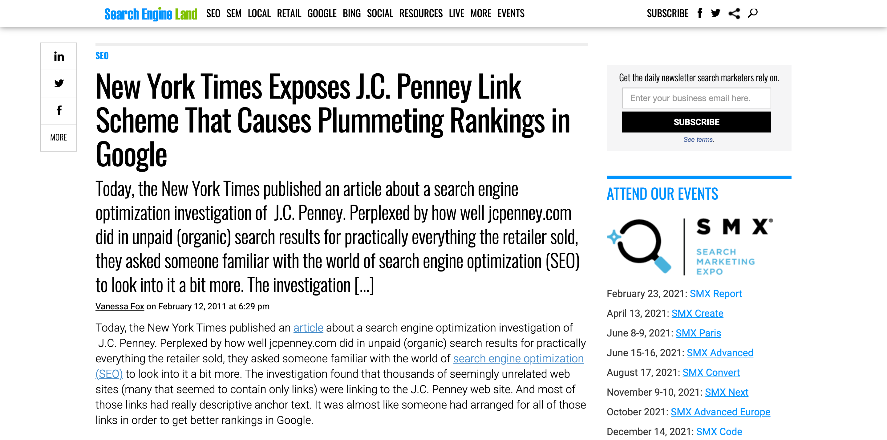 New-York-Times-Exposes-J-C-Penney-Link-Scheme-That-Causes-Plummeting-Rankings-in-Google - Agency Jet