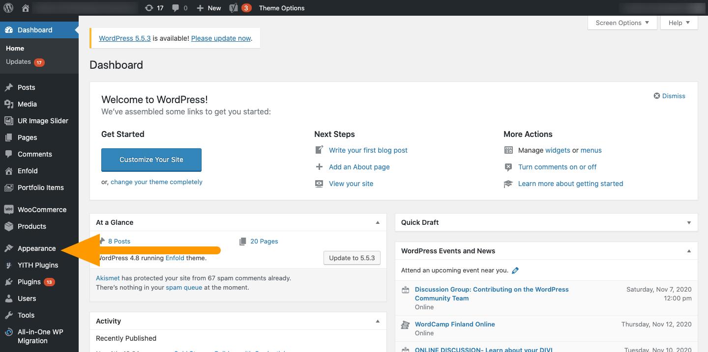 WordPress Appearance - Agency Jet